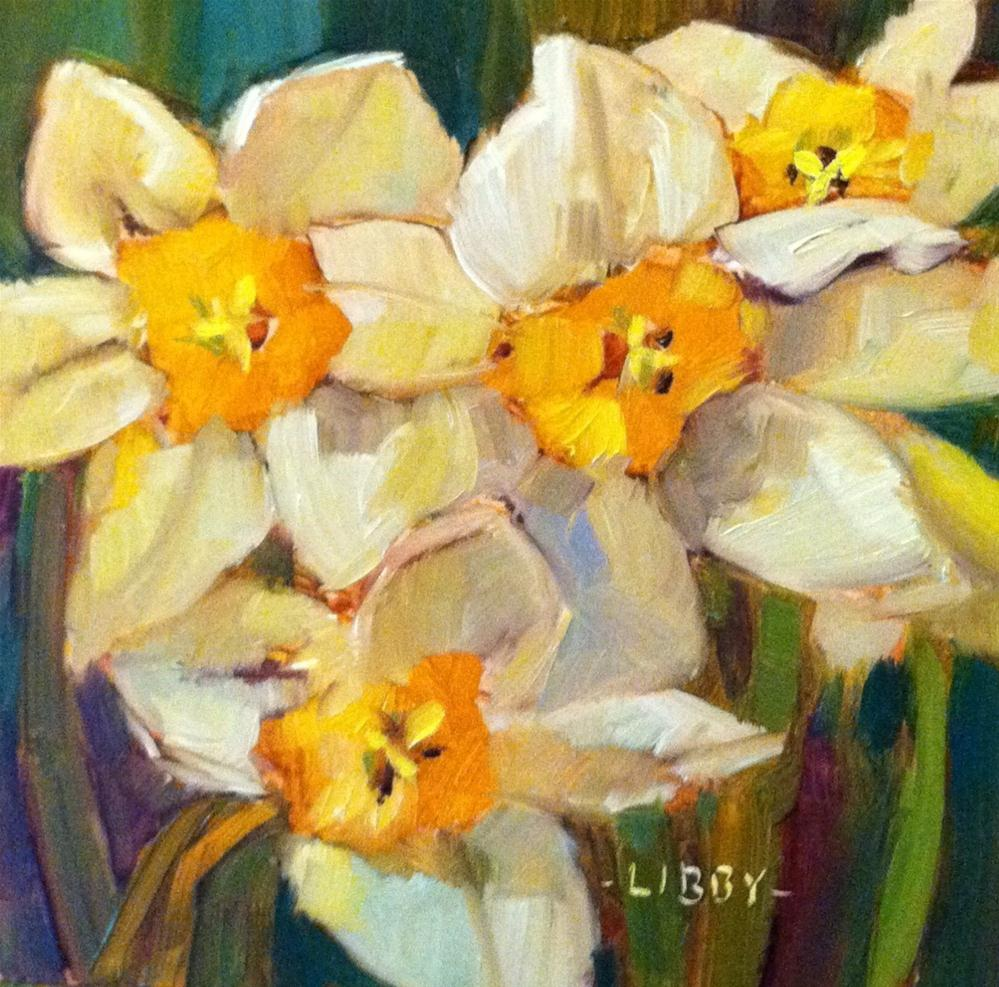 """Three daffodils"" original fine art by Libby Anderson"