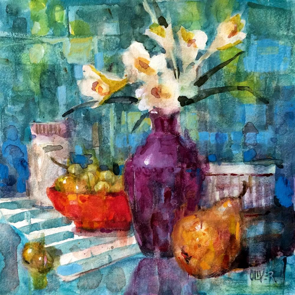 """Freesia, Pear and Grapes"" original fine art by Julie Ford Oliver"
