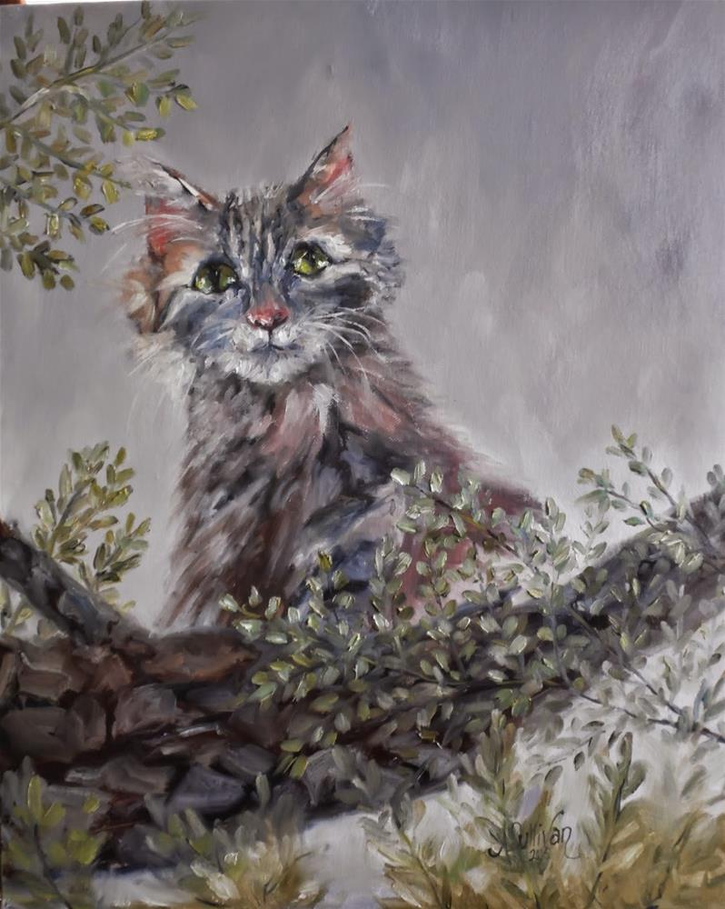 """A Higher Point of View cat painting by Alabama Artist Angela Sullivan"" original fine art by Angela Sullivan"