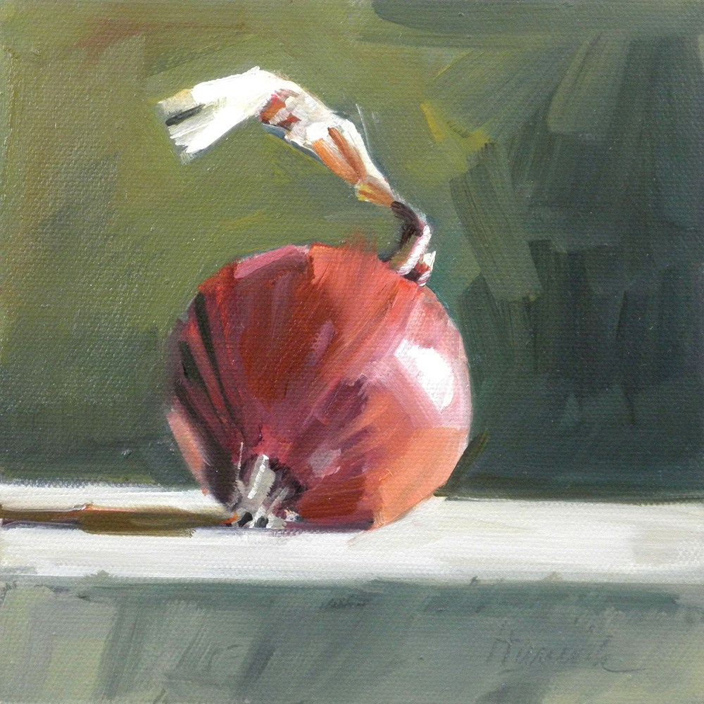 """Red Onion on Green"" original fine art by Gretchen Hancock"