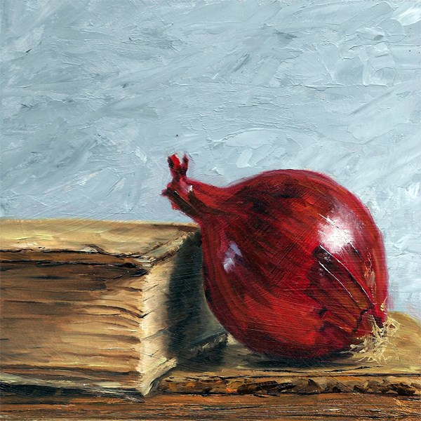 """Red onion with antique books"" original fine art by Peter J Sandford"