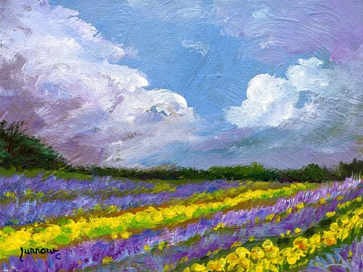 """ORIGINAL PAINTING OF LAVENDER AND DAFFODILS"" original fine art by Sue Furrow"