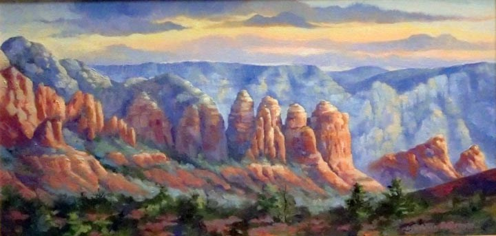 """Coffee Pot Panorama, Sedona framed"" original fine art by Jean Pierre DeBernay"