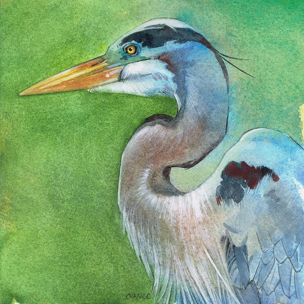 """No. 30 Great Blue Heron"" original fine art by Annabel Chance"