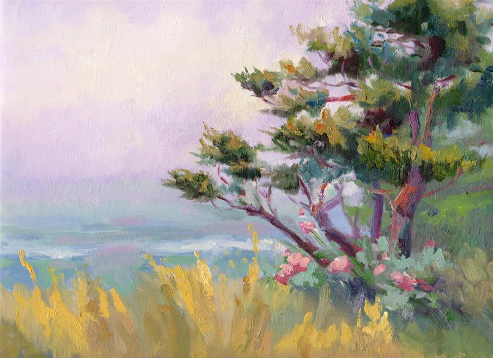 """COASTAL MIST AND PINE"" original fine art by Karen E Lewis"