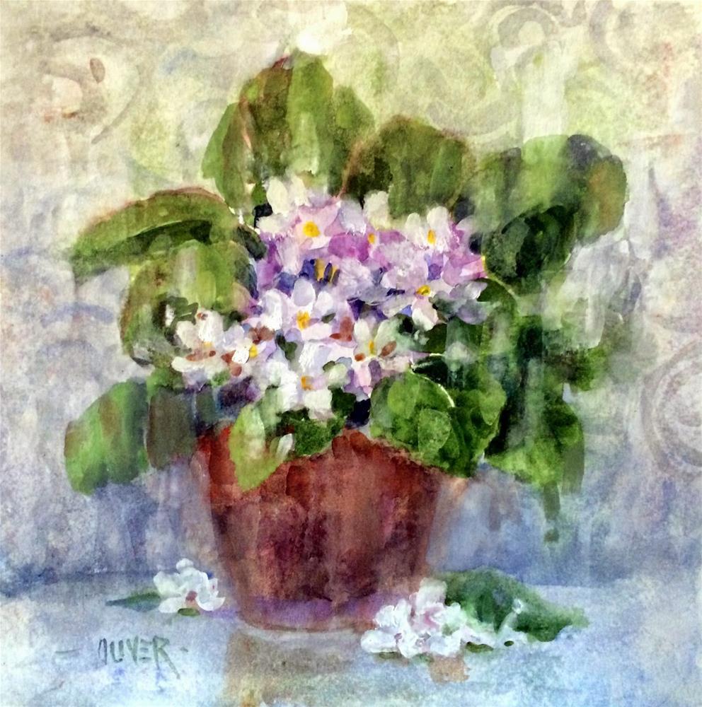 """""""Watercolor -  African Violets"""" original fine art by Julie Ford Oliver"""