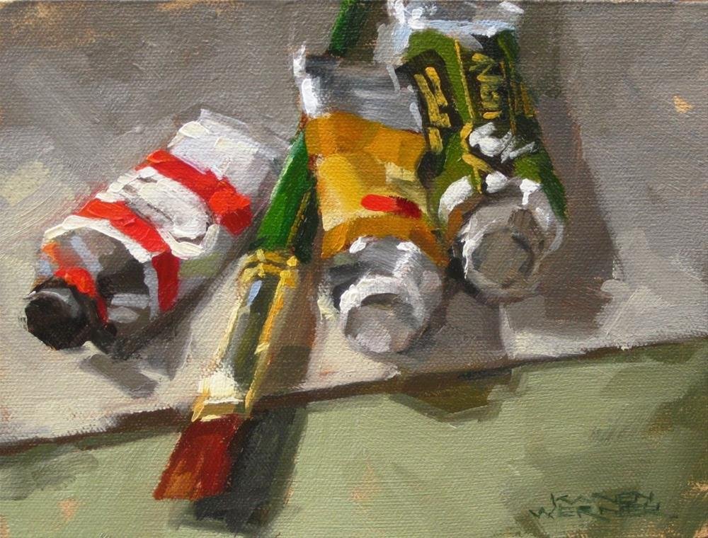 """Oil Tubes & Brush"" original fine art by Karen Werner"