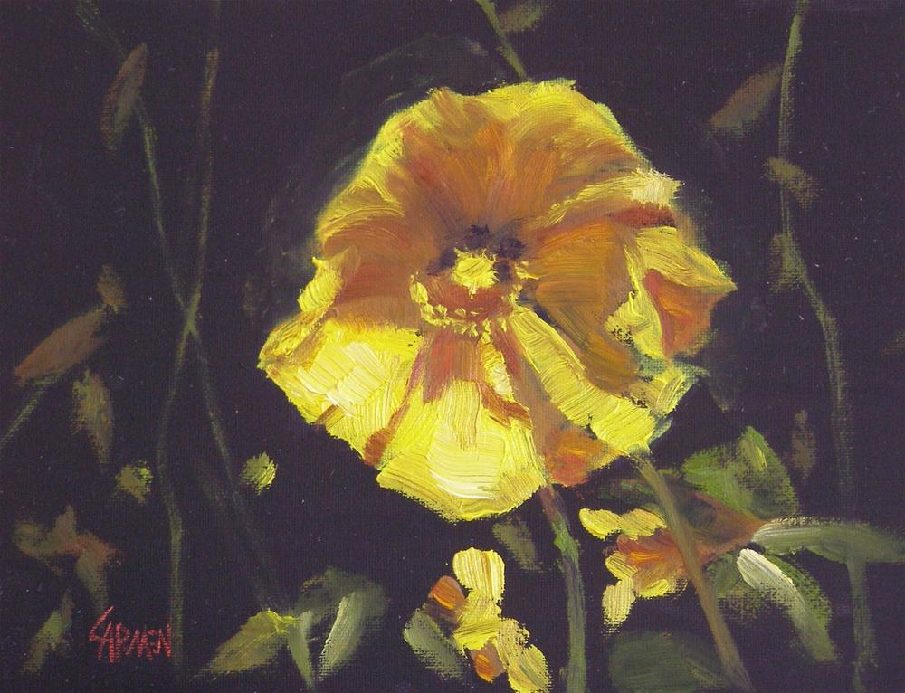 """Yellow Poppy, 6x8 Oil"" original fine art by Carmen Beecher"