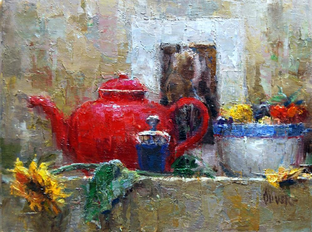 """Red Teapot - On the Shelf #3"" original fine art by Julie Ford Oliver"