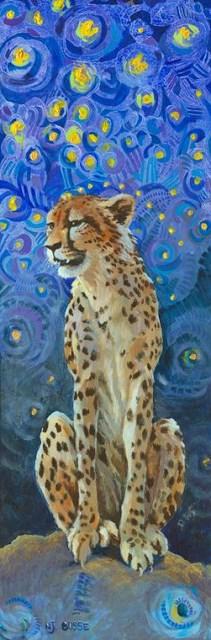 """Original Wildlife,Cat, Cheetah Painting Cheetah by Colorado Artist Nancee Jean Busse, Painter of t"" original fine art by Nancee Busse"