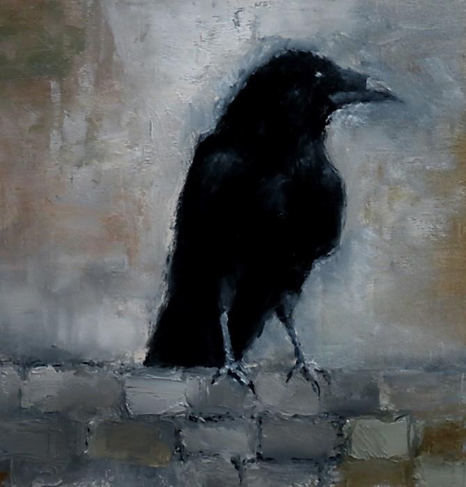 """A Raven on the Wall"" original fine art by Bob Kimball"