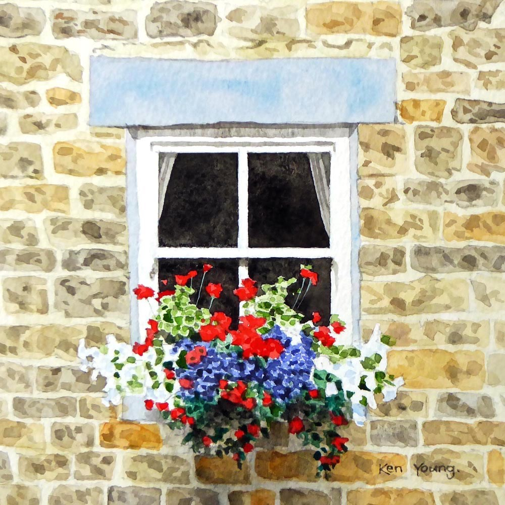 """Cottage Window"" original fine art by Ken Young"