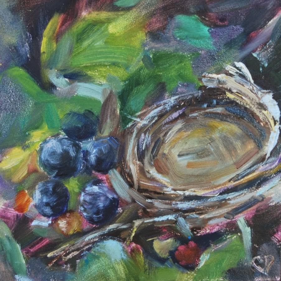 """Bird Nest with Berries, Original oil by Carol DeMumbrum"" original fine art by Carol DeMumbrum"