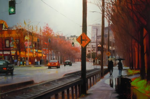 """Winter Walk  Seattle city scenes, oil cityscape"" original fine art by Robin Weiss"