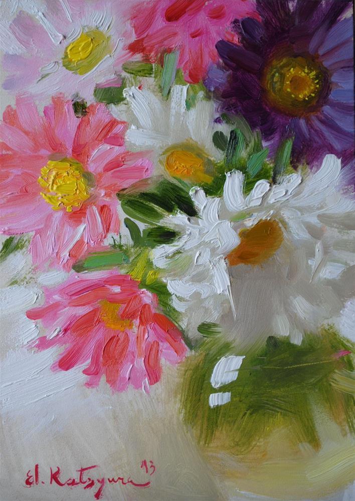 """Asters in a Vase"" original fine art by Elena Katsyura"