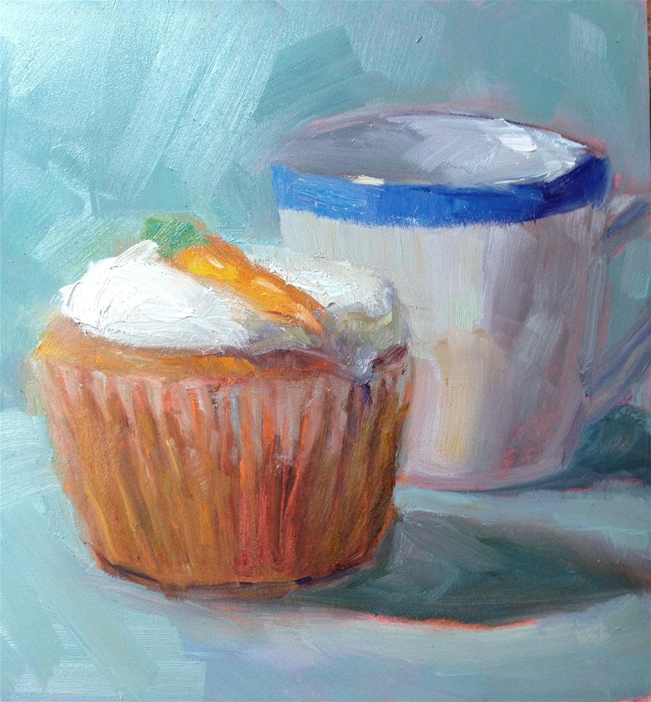 """Carrot Cupcake"" original fine art by Carol Josefiak"
