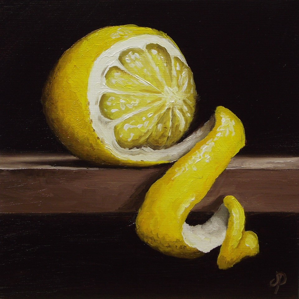 """Peeled Lemon"" original fine art by Jane Palmer"
