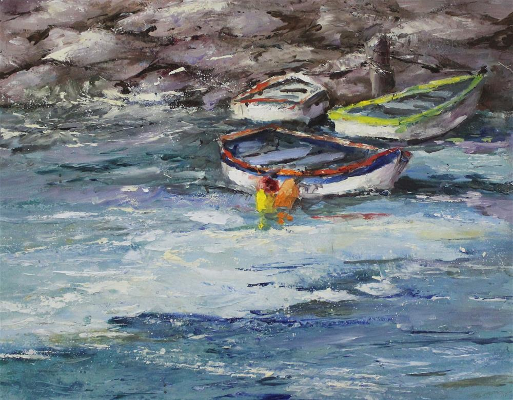"""Original oil boat painting shore wharf impressionism"" original fine art by Alice Harpel"