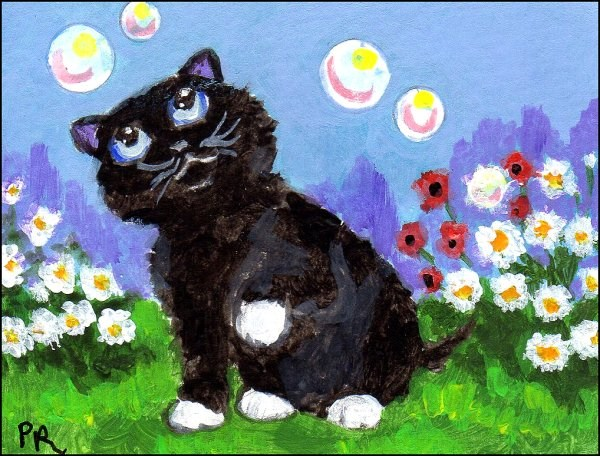 """Black Cat Playing With Bubbles"" original fine art by Patricia Ann Rizzo"