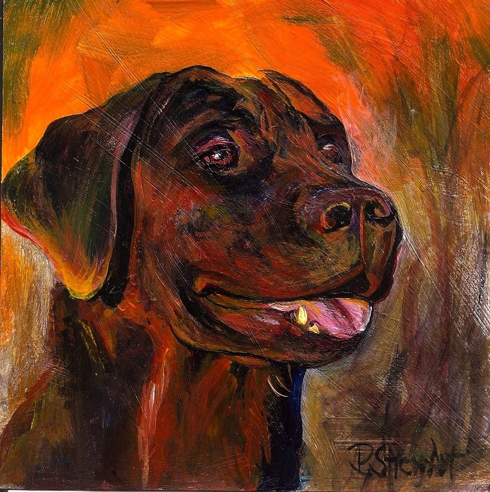 """5x5 Black Lab Dog Holly at Sunrise Pet Portrait Acrylic by Penny Lee StewArt"" original fine art by Penny Lee StewArt"