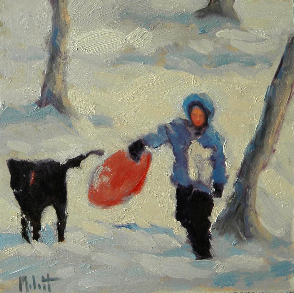 """Snow Sledding Child and Dog Heidi Malott"" original fine art by Heidi Malott"
