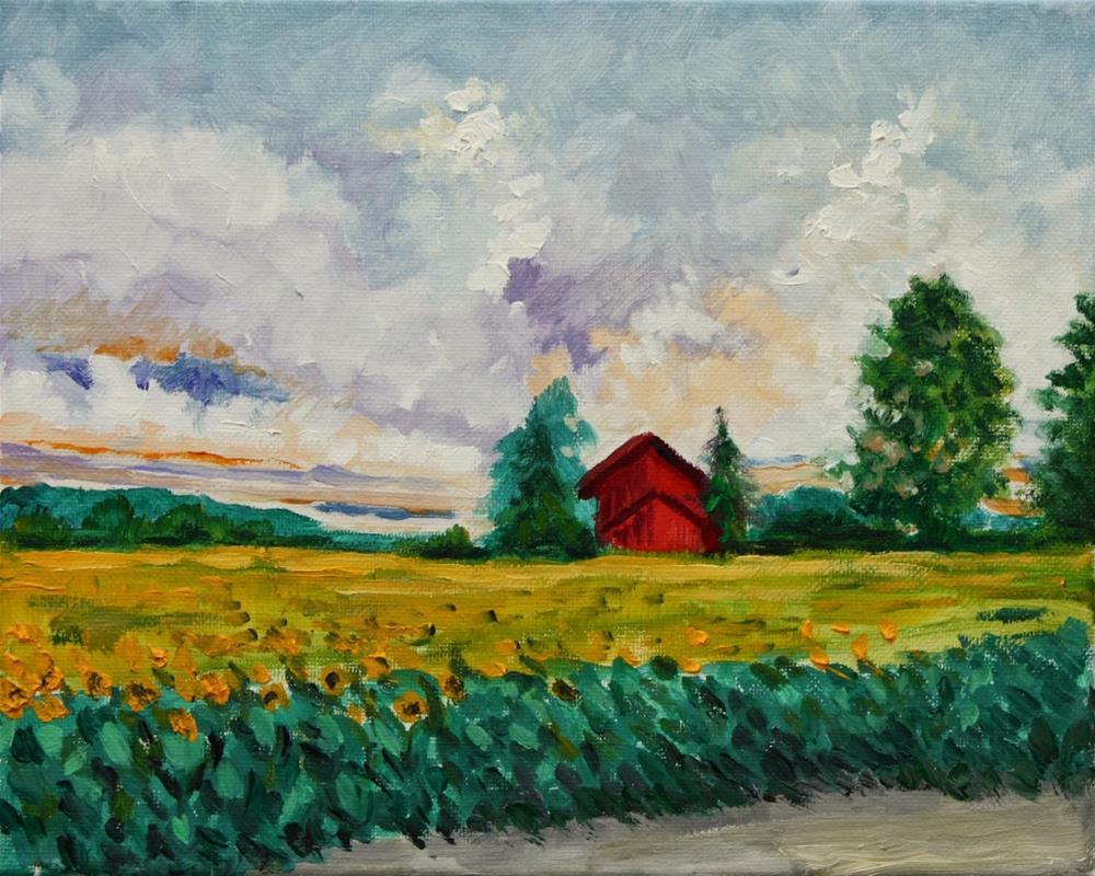 """Study of sky over sunflower field"" original fine art by Hilary J. England"
