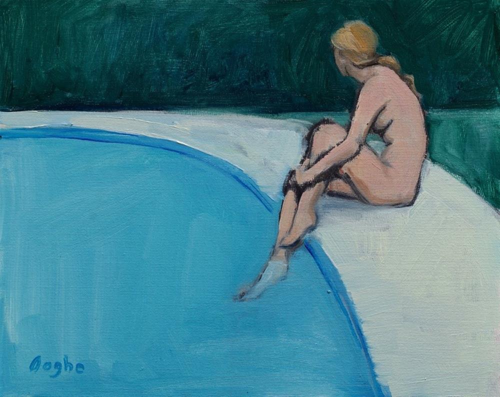 """Woman Beside Pool"" original fine art by Angela Ooghe"