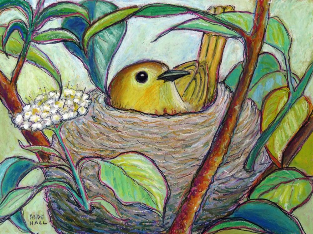 """Yellow Warbler on Nest"" original fine art by Ande Hall"