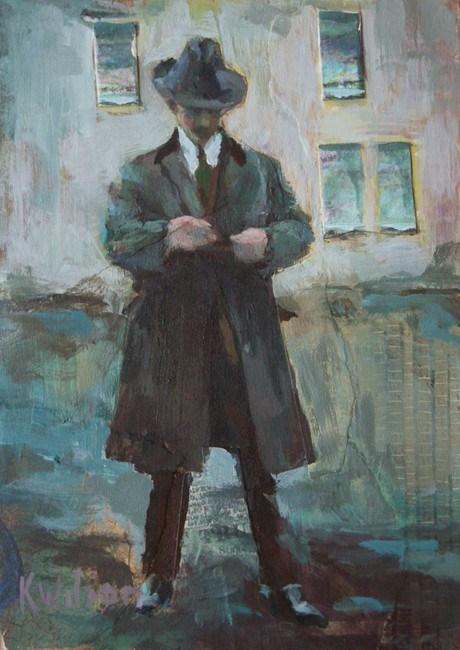 """""""Man in a Hat"""" original fine art by Katie Wilson"""