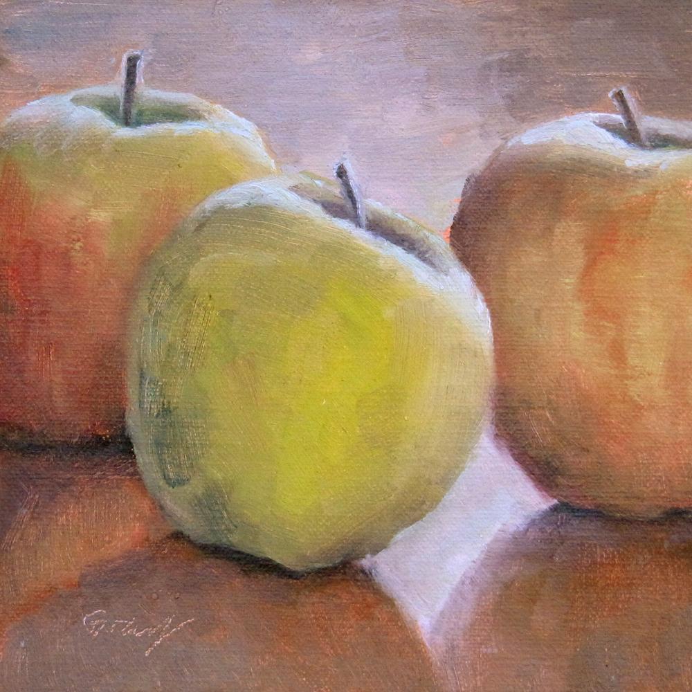 """Three Apples"" original fine art by Naomi Gray"