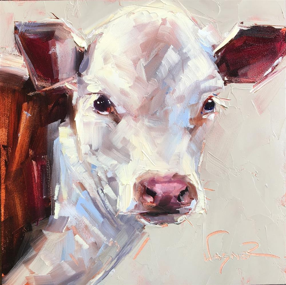 """ORIGINAL CONTEMPORARY COW PAINTING in OILS by OLGA WAGNER - 12 DAYS OF GREY"" original fine art by Olga Wagner"