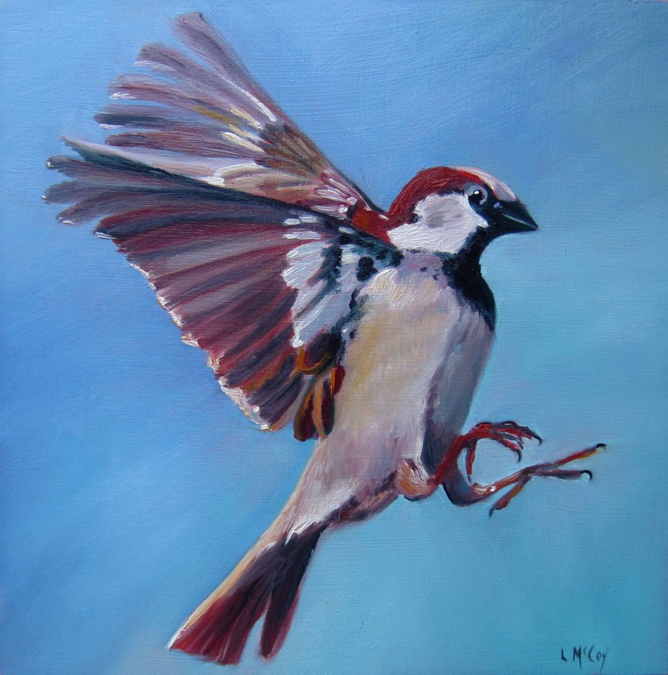 """Sparrow Bird in Flight, by Linda McCoy"" original fine art by Linda McCoy"