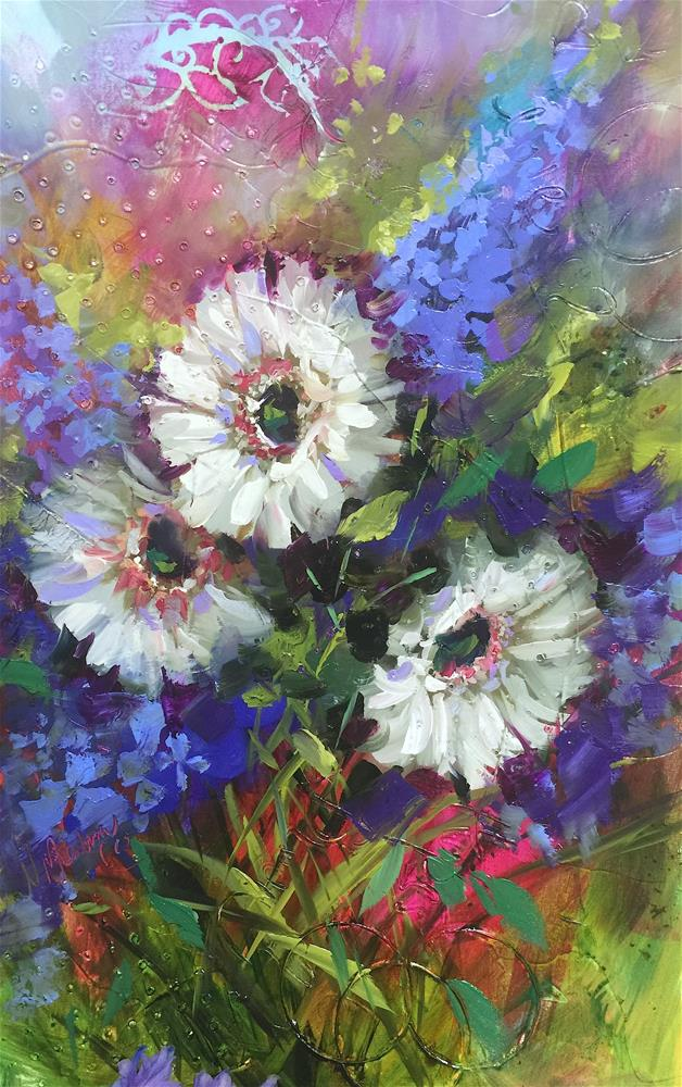 """Consider the Daisy, Textured Oil and Acrylics"" original fine art by Nancy Medina"