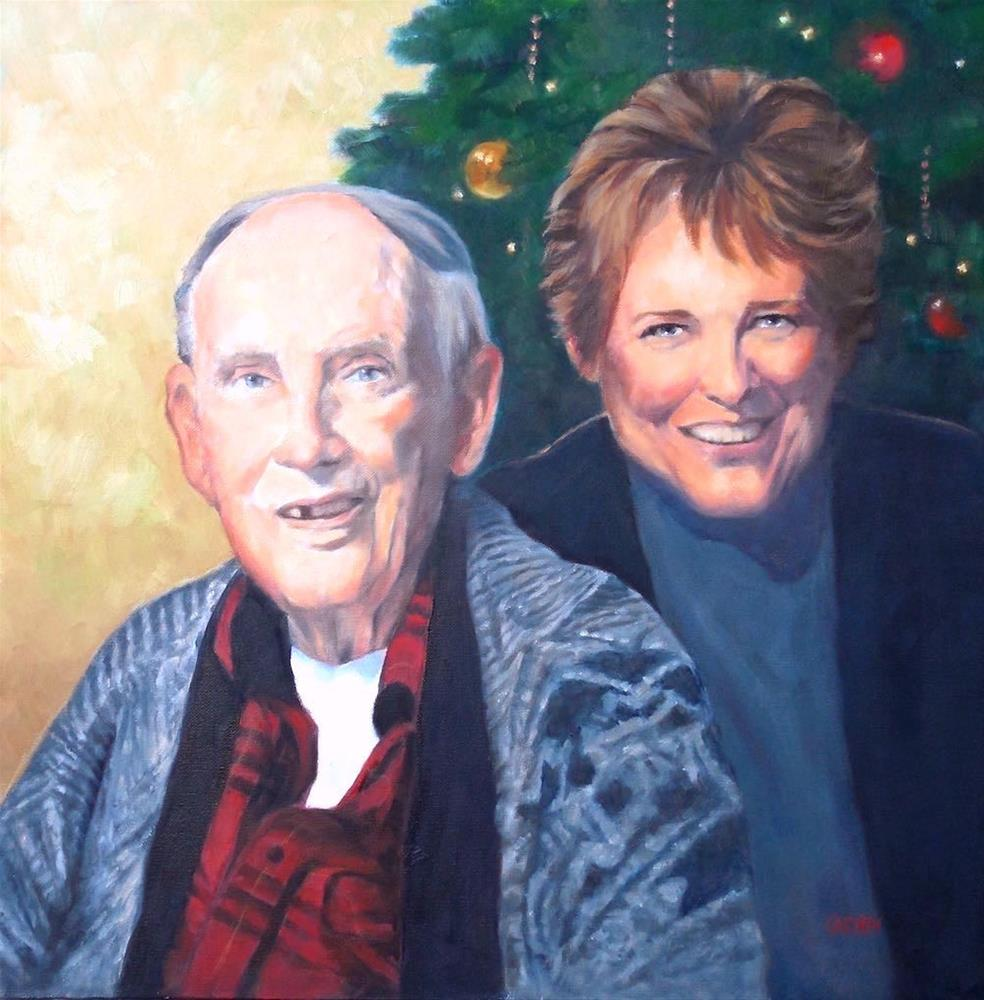"""Sherri and Woody, 20x20 Portrait, Oil on Canvas"" original fine art by Carmen Beecher"