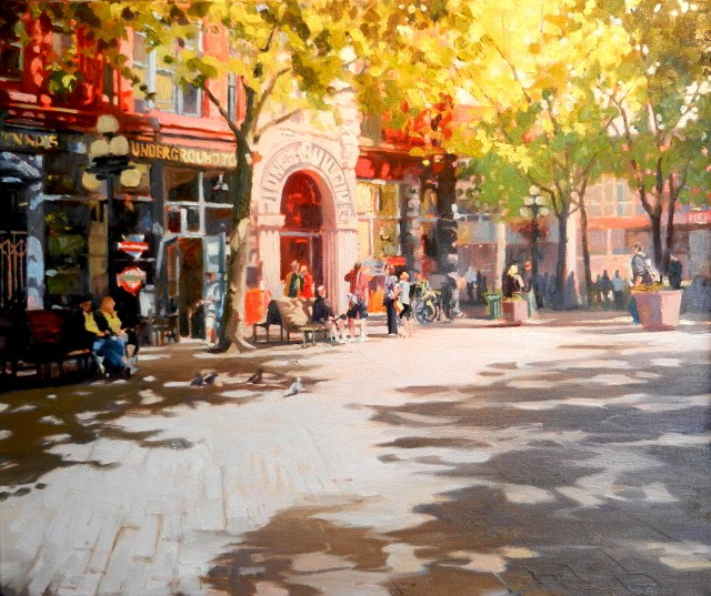 """Pioneer Building Seattle city, urban oil painting by Robin Weiss."" original fine art by Robin Weiss"