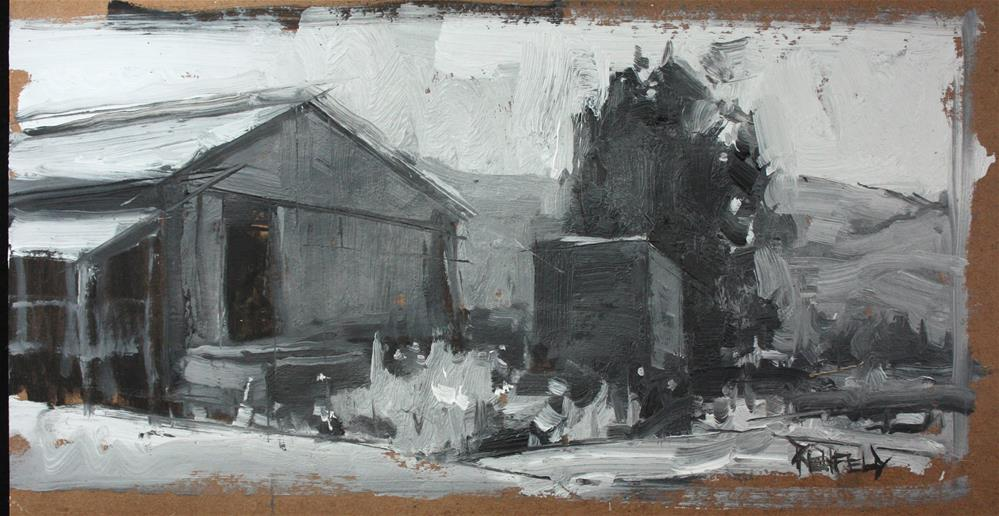 """Early Morning Farm Barn in black and white"" original fine art by Cathleen Rehfeld"