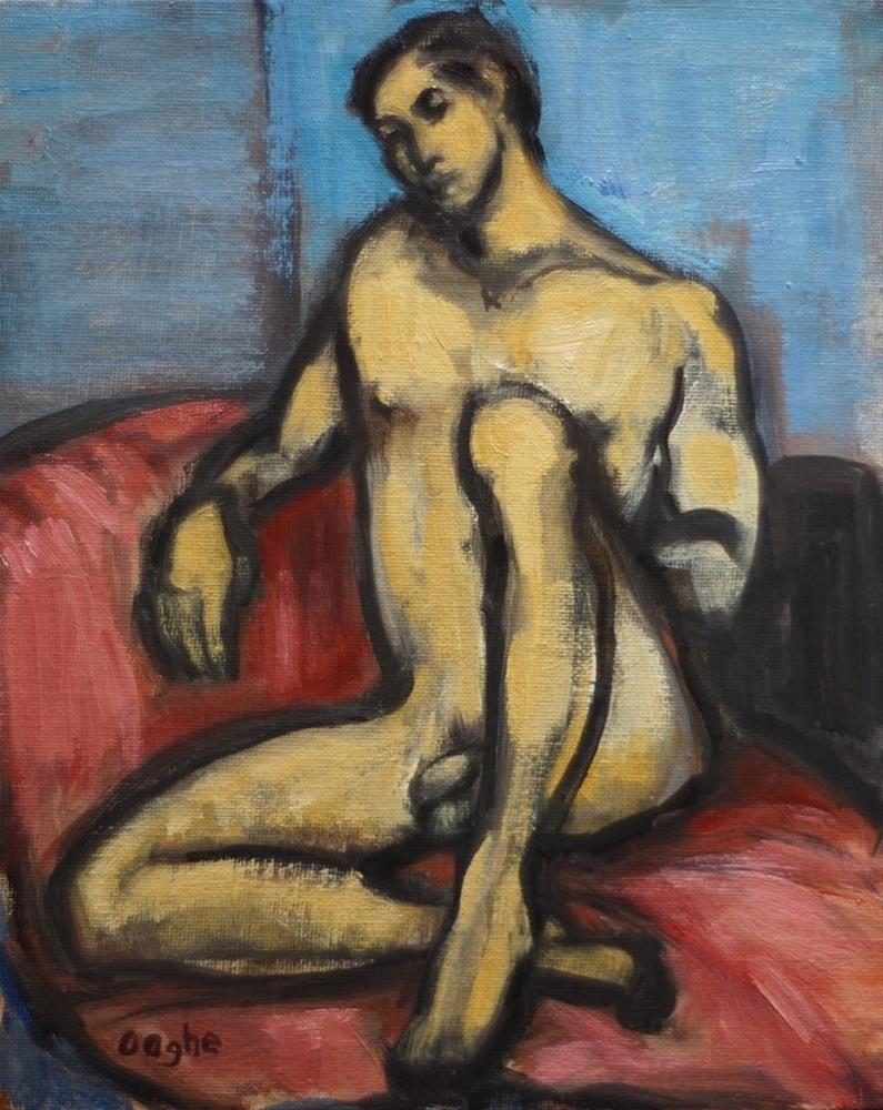 """Man on Red Blanket"" original fine art by Angela Ooghe"