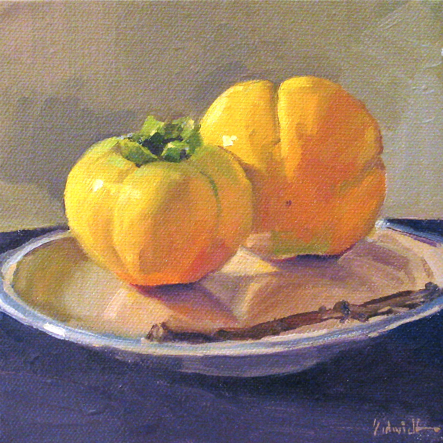 """Persimmons with a Branch"" original fine art by Sarah Sedwick"