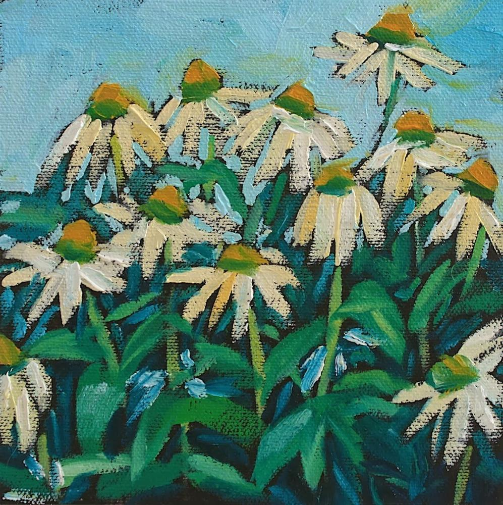 """White Echinacea"" original fine art by Mary Anne Cary"