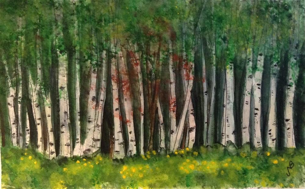 """Spring Aspen Grove SOLD"" original fine art by Nancy Beard"