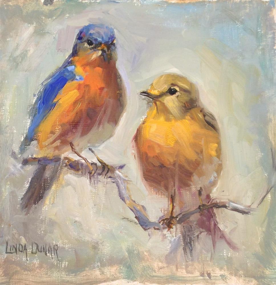 """Blue Birds in Gray"" original fine art by Linda Dunbar"