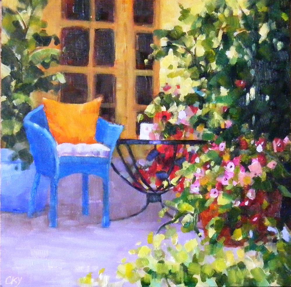"""Blue chair"" original fine art by Celine K.  Yong"