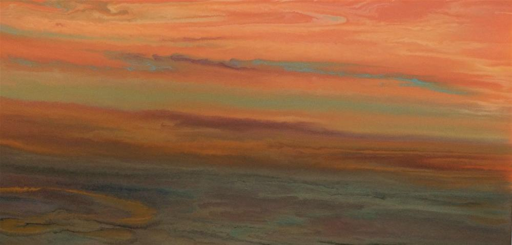 """Contemporary Abstract Sunset Landscape Painting Blazing Sky Reflected VI by Colorado Contemporary"" original fine art by Kimberly Conrad"