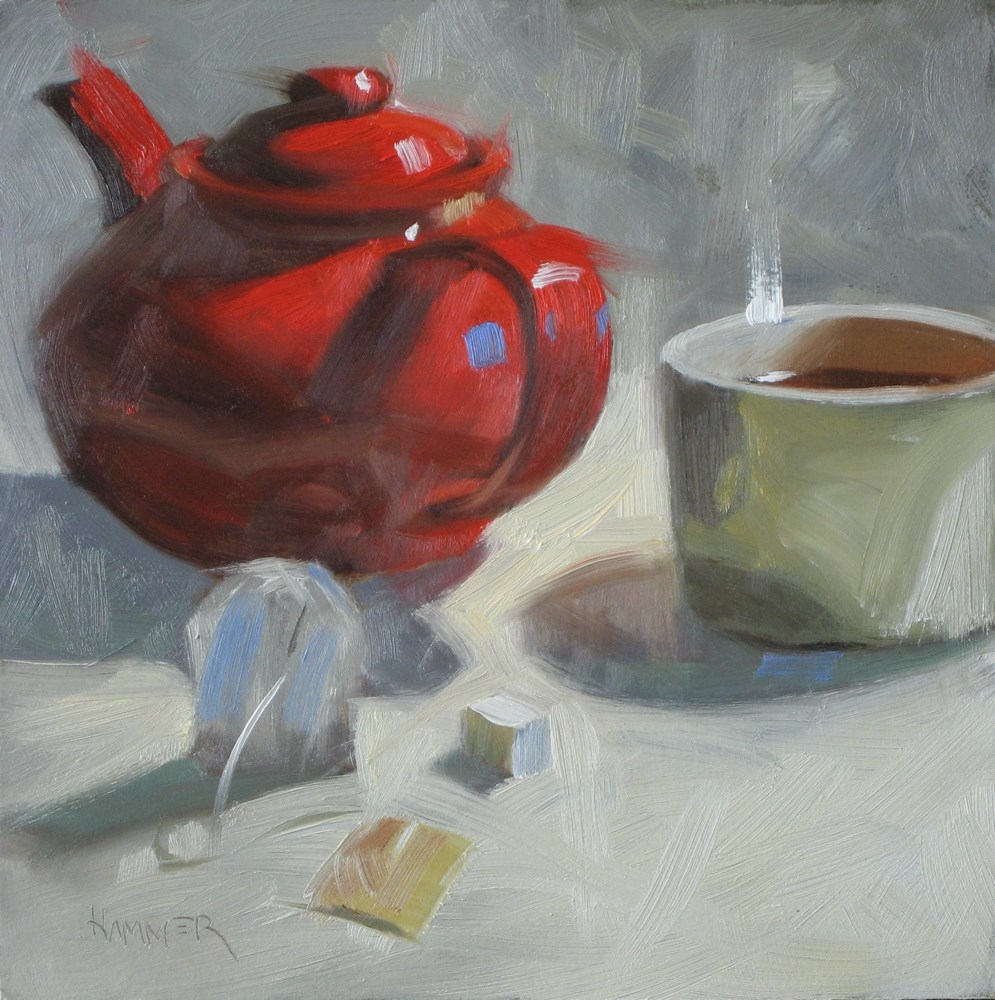 """Tea, one sugar 6x6 oil"" original fine art by Claudia Hammer"