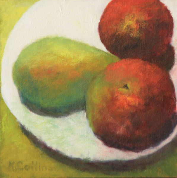 """Trois Fruits"" original fine art by Kathy Collins"