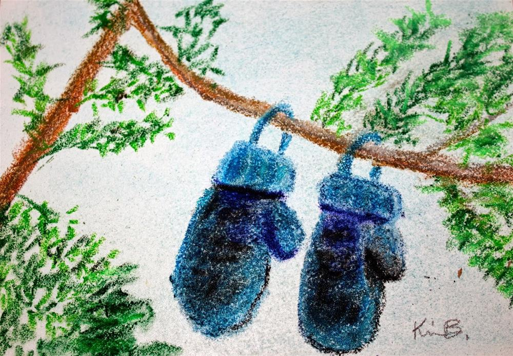 """Blue Mittens"" original fine art by Kimberly Balentine"