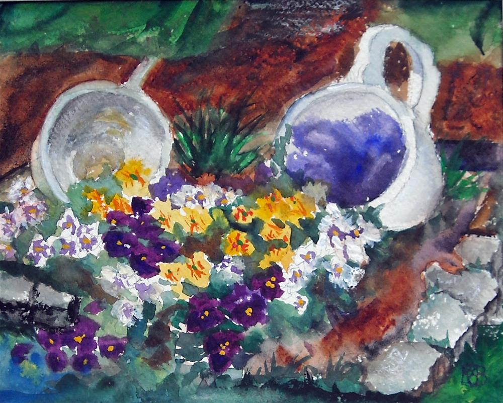 """Kate's Coffee Garden"" original fine art by Kathleen Barnes"