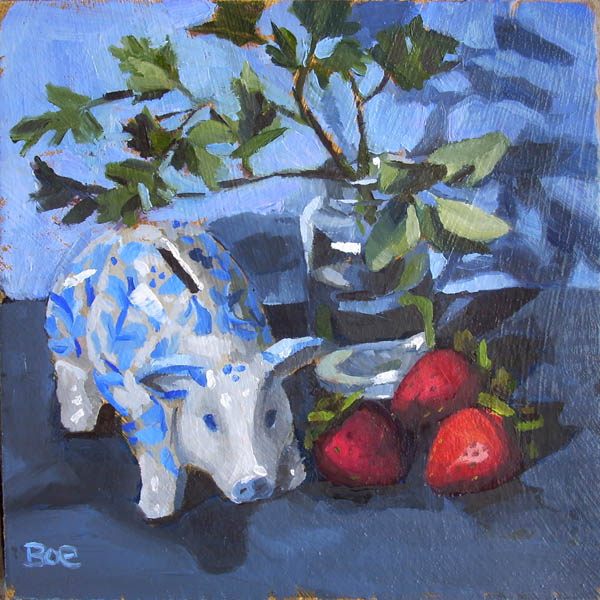 """Parsley, Sage, Strawberry and Swine"" original fine art by Karen Boe"
