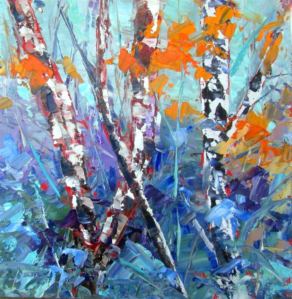 """8 x 8 inch oil Little Birches #8"" original fine art by Linda Yurgensen"