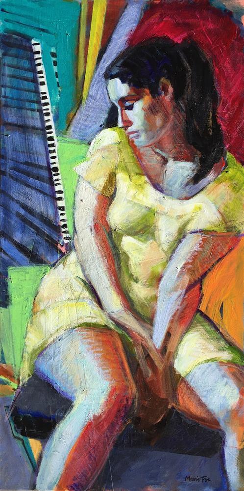 """Entanglement, figurative painting of woman, figure study, female figuration, pensive woman, female a"" original fine art by Marie Fox"